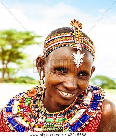AFRICA,KENYA, SAMBURU,NOVEMBER 8: Portrait of Samburu  woman wearing traditional handmade accessories,  review of daily life of local people, near Samburu Park National Reserve, November 8,2008,Kenya