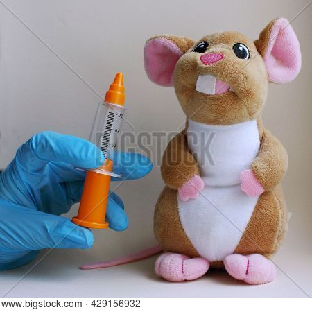 Children Is Syringe, Hand In Gloves And Toy In The Form Of A Mouse. Vaccination. The Concept Of Medi