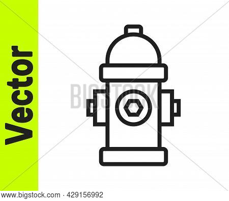 Black Line Fire Hydrant Icon Isolated On White Background. Vector