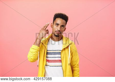 You Kill My Vibe. Gloomy Irritated And Annoyed Handsome Stylish African American Guy In Yellow Trend