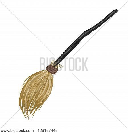 Flying Broom. Broom. Cleaning Tool. A Magical Subject Vector Illustration