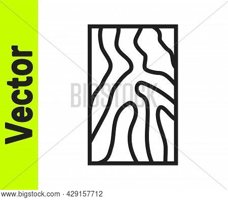 Black Line Wooden Beam Icon Isolated On White Background. Lumber Beam Plank. Vector