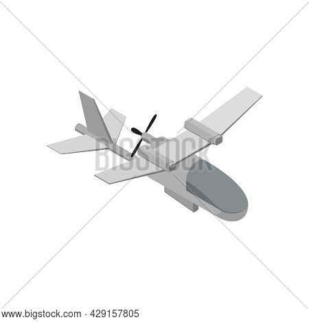 Military Air Forces Isometric Icon With Grey Eagle Plane 3d Vector Illustration