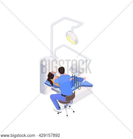 Stomatology Clinic Isometric Icon With Male Dentist And Female Patient 3d Vector Illustration