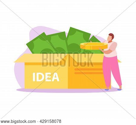 Crowdfunding Flat Icon With Box Of Banknotes And Male Character Holding Coin Vector Illustration