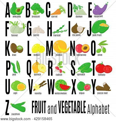 Abc Fruit And Vegetables, Alphabet And Food That Begins With Its Letters, For Children To Learn Vect