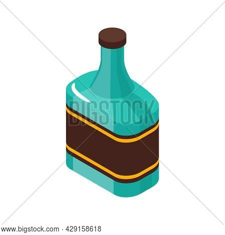 Isometric Icon With Green Bottle Of Cognac Whiskey Or Rum 3d Vector Illustration