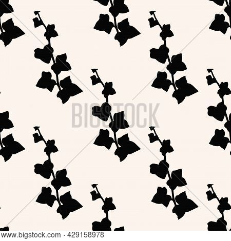 Vector Floral Pattern With Ivy Leaves. Gentle Black Simple Floral Background.