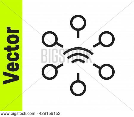 Black Line Network Icon Isolated On White Background. Global Network Connection. Global Technology O
