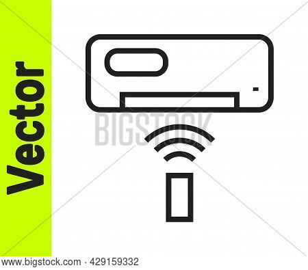 Black Line Air Conditioner Icon Isolated On White Background. Split System Air Conditioning. Cool An