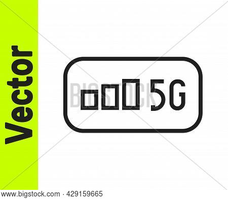 Black Line 5g New Wireless Internet Wifi Connection Icon Isolated On White Background. Global Networ