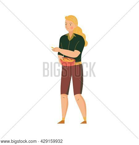 Female Character Of Zoo Worker With Bowl Going To Feed Animals Flat Vector Illustration