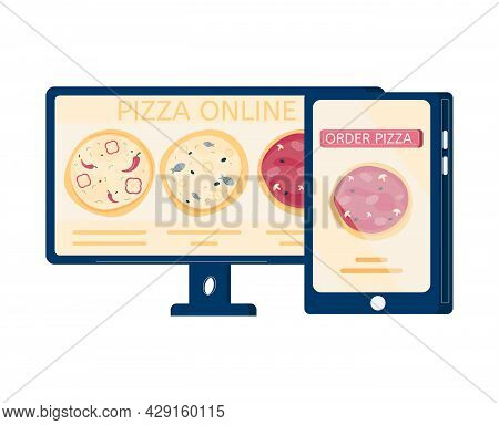 Pizza Order Online Flat Icon With Images Of Smartphone And Computer Vector Illustration