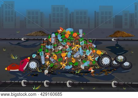 City Landfill. Environment Pollution Problem Concept. City Dump With Pile Of Garbage And Plastic Tra