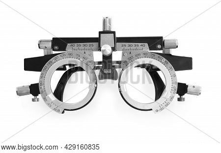 Trial Frame Isolated On White, Top View. Ophthalmologist Tool