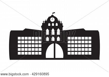 School Icon Isolated On White Background. University Pictogram. School Or College Simple Sign. Symbo