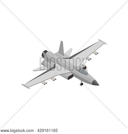 Military Air Forces Isometric Icon With Boeing Super Hornet 3d Vector Illustration