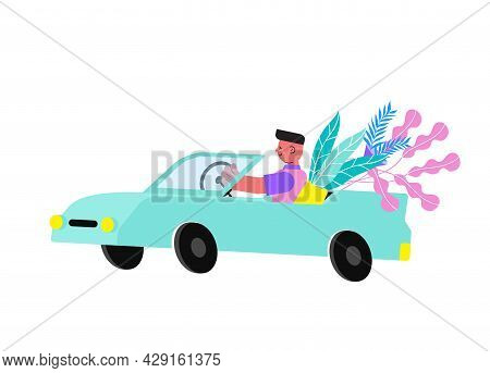 Floristry Flat Icon With Courier Carrying Plants In Car Vector Illustration