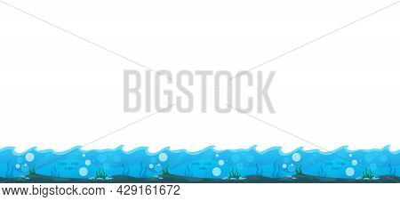 Cartoon Game User Interface Relief With Bottom Of Sea Vector Illustration
