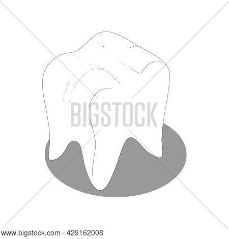 Isometric Icon With White Healthy Human Tooth 3d Vector Illustration
