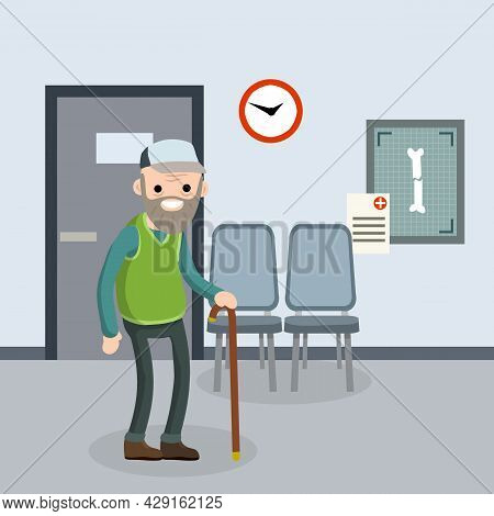 Old Senior Man In The Doctor Office In Hospital. Providing Medical Care. Trauma Patient. Happy Grand