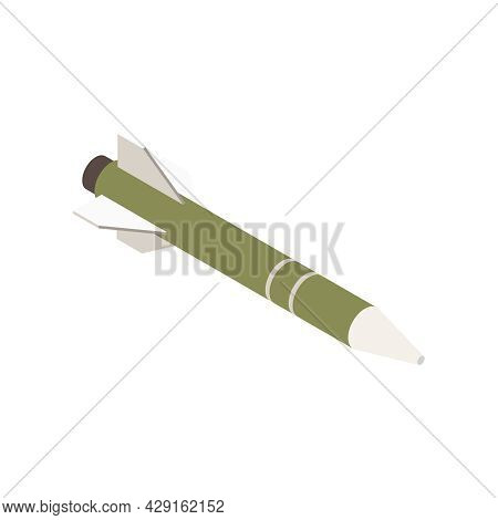 Isometric Missile Icon With Mark 54 Light Weight Hybrid Torpedo 3d Vector Illustration