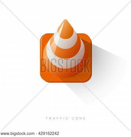 Traffic Cone Icon. Orange-white Plastic Road Cone. Road Sign.