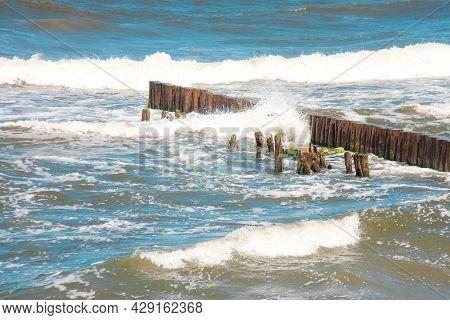 View To The Breakwaters On The Coast Of Baltic Sea. Resort City Svetlogorsk In Kaliningrad Region.