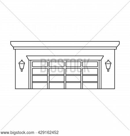 Garage Of Building Vector Icon.outline Vector Icon Isolated On White Background Garage Of Building.