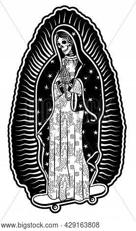 Virgin Of Guadalupe On A Skateboard. The Virgin Skeleton Mary Vector Poster Illustration.