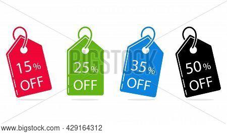Set Of Sale Labels 15, 25, 35, 50 Percent Discount, Price Tag. Flat Design. Vector.