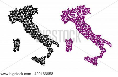 Contour Of Italy With Decorative Geometric Pattern And Symbol Of Italy Festival Mask. File To Cut.