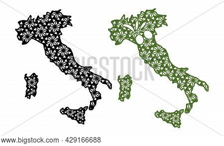 Contour Of Italy With Decorative Geometric Patterns And The Symbol Of Italy - Olives. Cut And Sublim