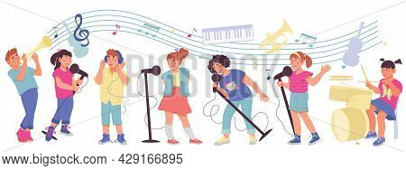 Children With Musical Instruments - Playing Music And Singing Songs. Kids Orchestra Or Band, Music E
