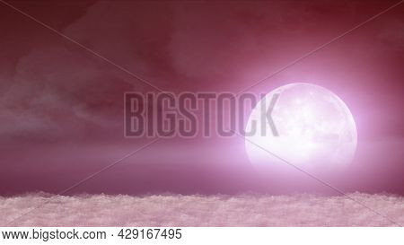 Beautiful Realistic Flight Over Cumulus Lush Clouds In The Night Moonlight Illustration