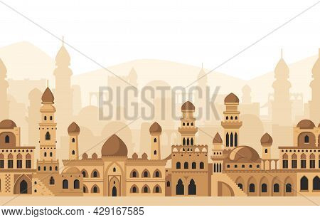 Arabic City Traditional Mosque Buildings Silhouettes Panorama View. Islamic Architecture Landscape V