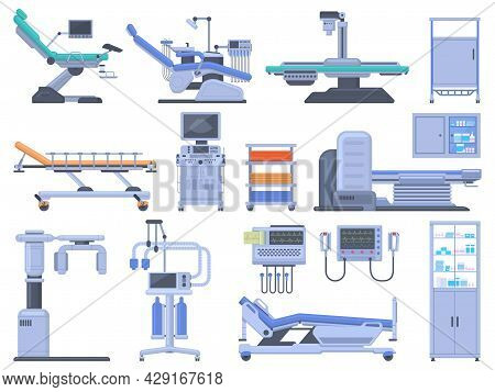 Healthcare Hospital Clinic Medical Diagnostic Equipment Devices Set. Medical Checkup Mri Scanner, De