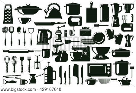 Kitchen Cutlery, Utensil And Cooking Tools Silhouette Elements. Tableware, Monochrome Culinary Tools