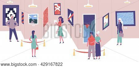 People Admire Classic Art Gallery Paintings Exhibition. Art Gallery Exposition Excursion Visitors Ve