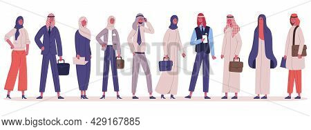 Arabic Muslim Stylish Business People Group Standing Together. Male And Female Business Office Chara