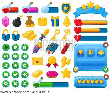 Cartoon Mobile Game User Interface Kit Elements. Casual Game Interface Menu Buttons, Trophies And Ba