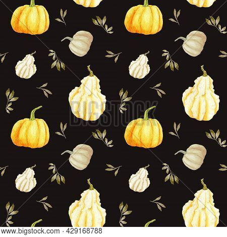 Watercolor Autumn Pumpkin Seamless Pattern On A Black Background. Orange Round Gourd With Leaves And