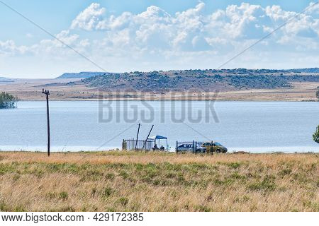 Smithfield, South Africa - April 23, 2021: Anglers At The Dam At Smithfield In The Free State Provin