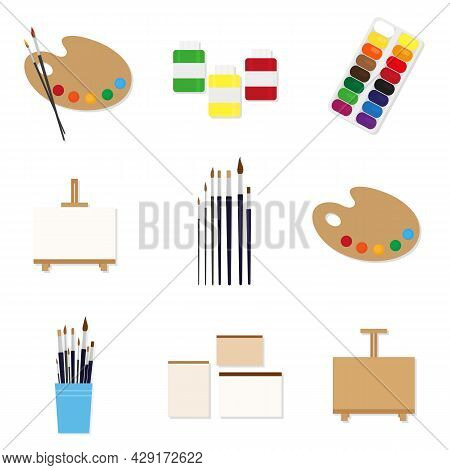 Painting Tools Set. Palette, Paint Brushes, Easel, Sketchbook And Paper, Moist Colors, Artist Paints