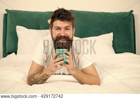 Dont Hurry Drink Coffee. Happy Hipster Drink Coffee In Bed. Bearded Man Enjoy Hot Drink. Breakfast D