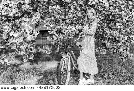 Girl Casual Dress Retro Cruiser Bicycle Sakura Tree. Spring Holidays. Tourism Concept. Transportatio