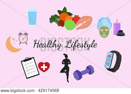 Healthy Lifestyle Set. Fitness, Healthy Food And Active Style Of Life. Flat Design Vector Illustrati