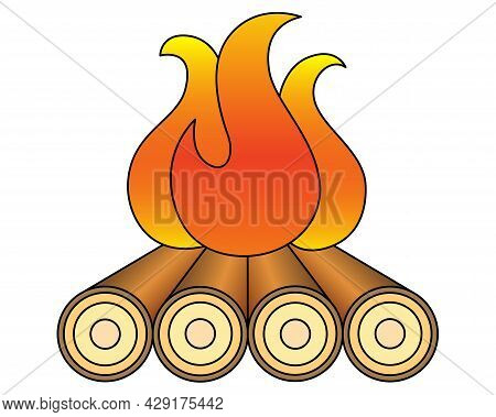 Bonfire. Tourist Campfire - Vector Full Color Illustration For A Logo. Firewood Is Burning - A Sign