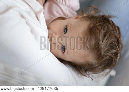 Loving Mother Breastfeed Small Newborn Baby Daughter