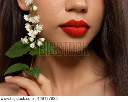 Cosmetics, Makeup And Trends. Bright Lip Gloss And Lipstick On Lips. Closeup Of Beautiful Female Mou